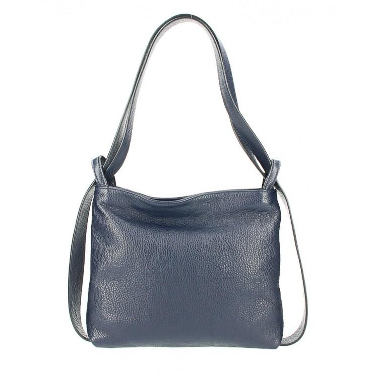 Leather shoulder bag/Backpack 575 dark blue Made in Italy
