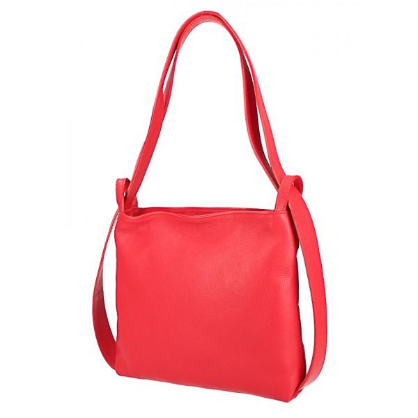Kožená kabelka na rameno/batoh 575 tmavomodrá Made in Italy Modrá