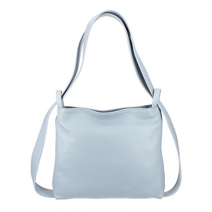 Leather shoulder bag/Backpack 575 light blue Made in Italy