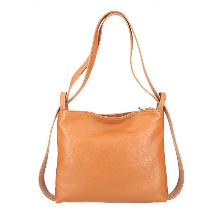 Leather shoulder bag/Backpack 575 cognac Made in Italy