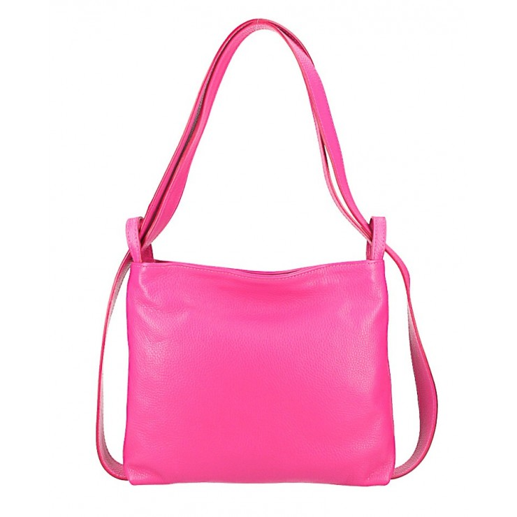 Leather shoulder bag/Backpack 575 fuxia Made in Italy