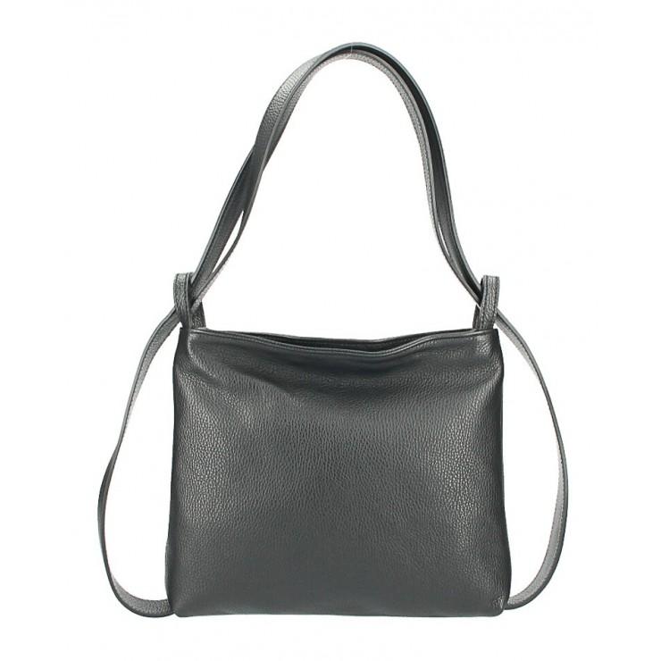 Leather shoulder bag/Backpack 575 black Made in Italy