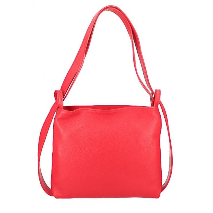 Leather shoulder bag/Backpack 575 red Made in Italy