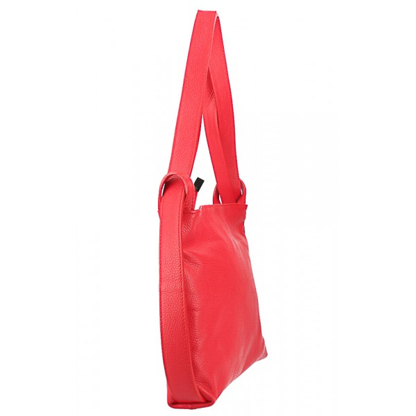 Kožená kabelka na rameno/batoh 575 červená Made in Italy Červená