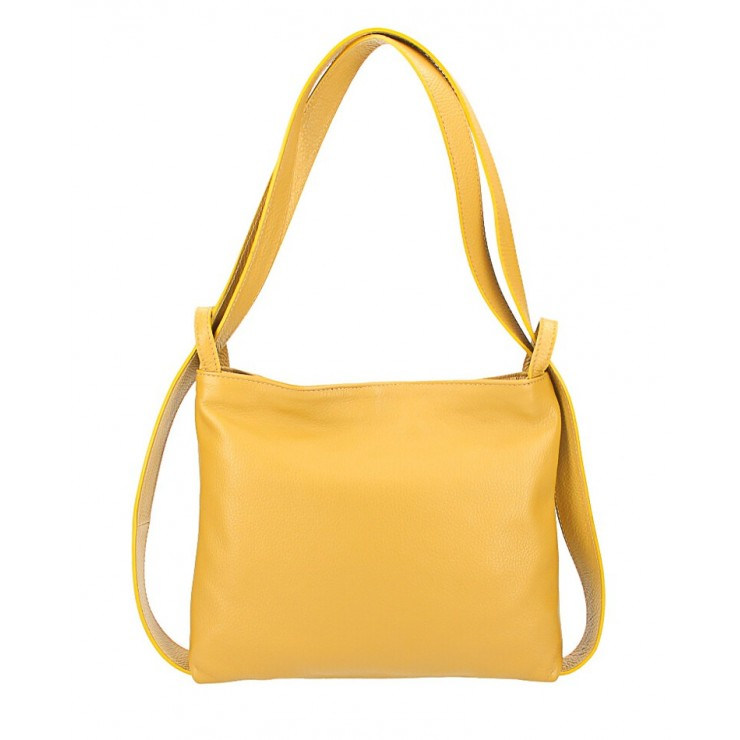 Leather shoulder bag/Backpack 575 mustard Made in Italy