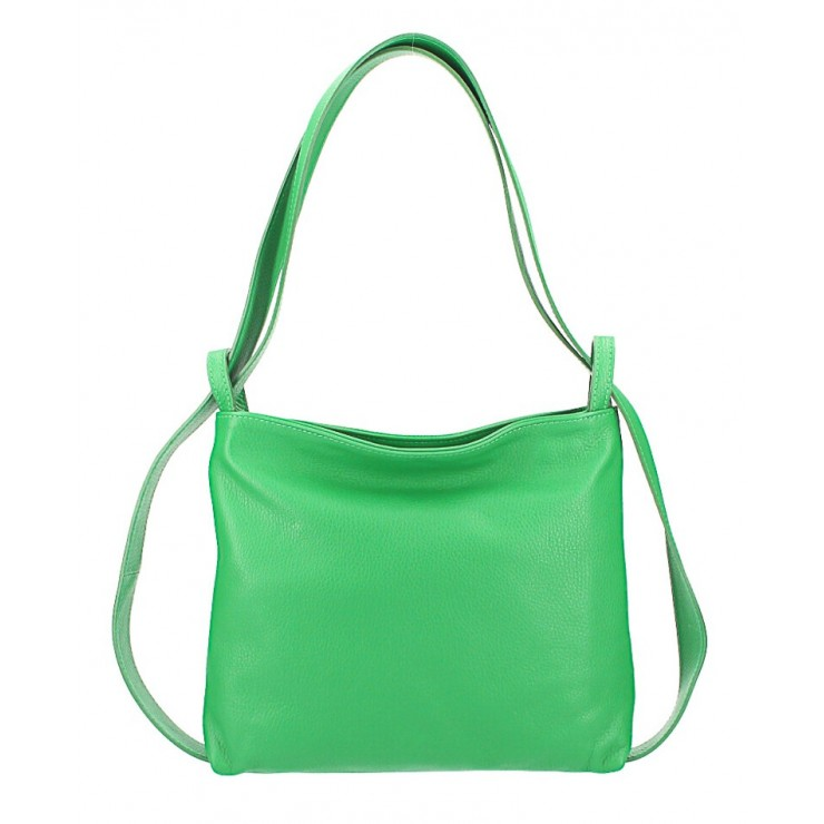Leather shoulder bag/Backpack 575 green Made in Italy