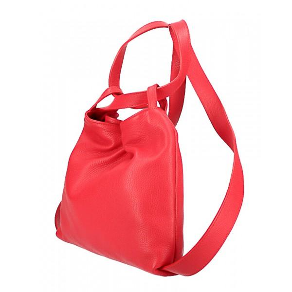 Kožená kabelka na rameno/batoh 575 zelená Made in Italy Zelená