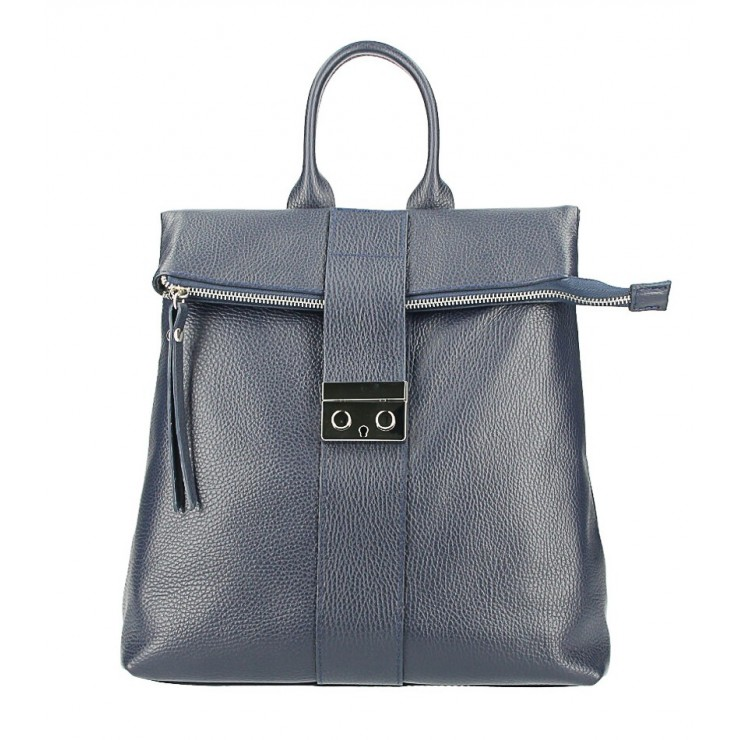 Leather backpack 576 blue Made in Italy