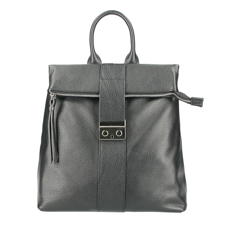 Leather backpack 576 black Made in Italy