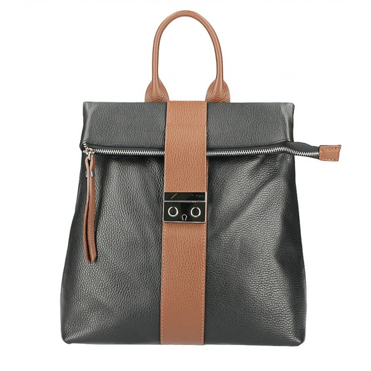 Leather backpack 576 black+brown Made in Italy