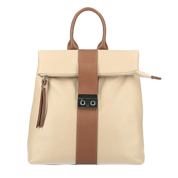 Leather backpack 576 taupe+brown Made in Italy