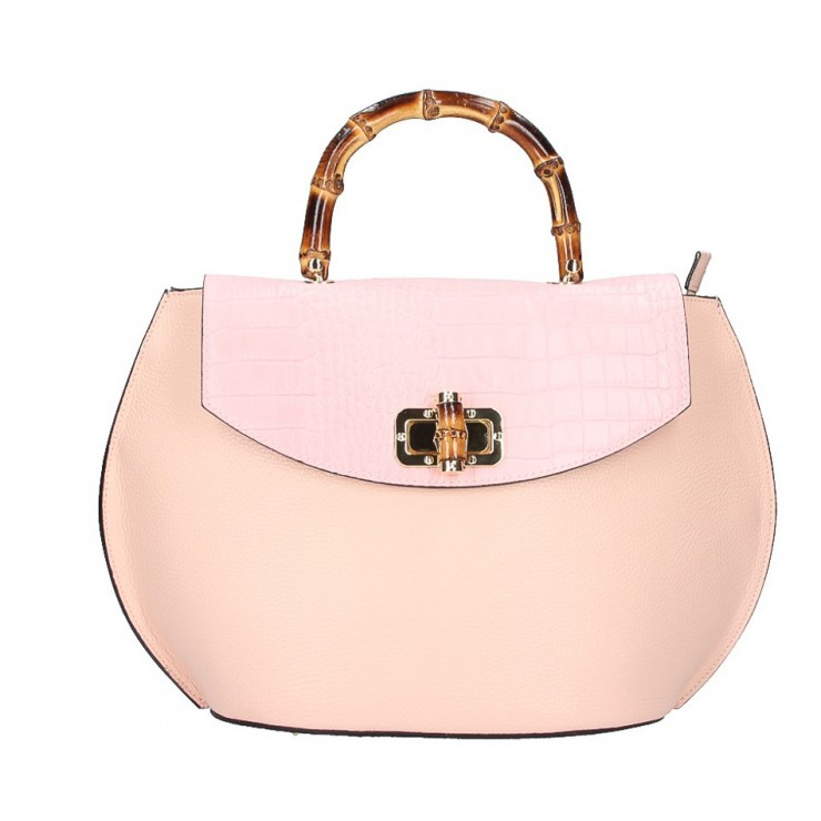 Genuine Leather Handbag 827 pink