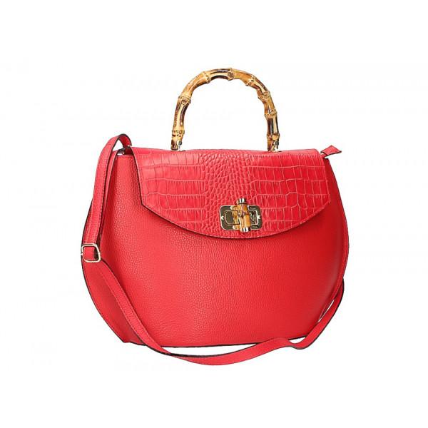 Kožená kabelka s bambusovými rúčkami 827 ružová Ružová