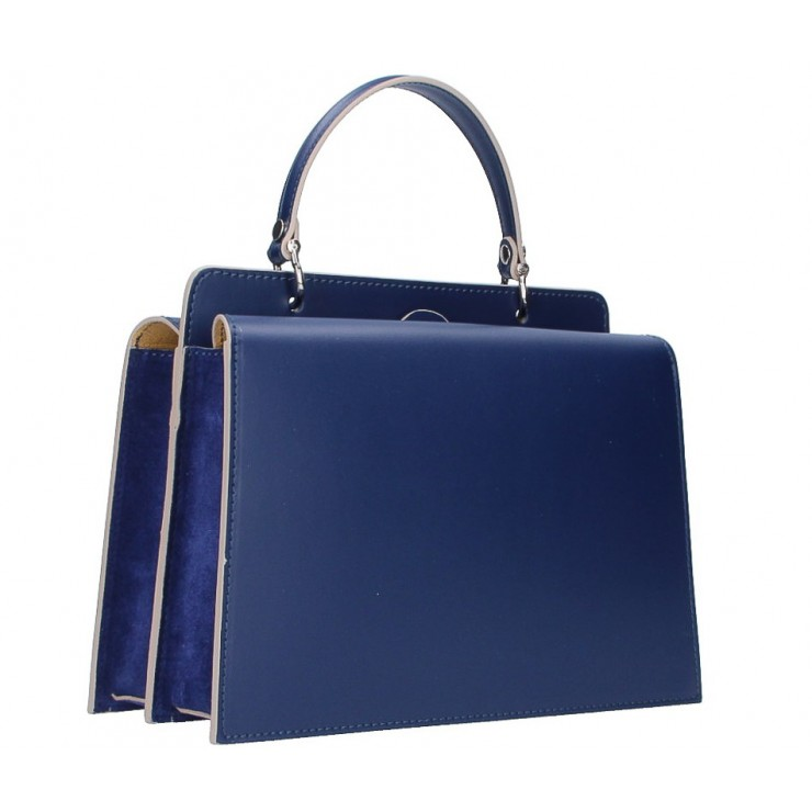 Genuine Leather Handbag  5337 blue