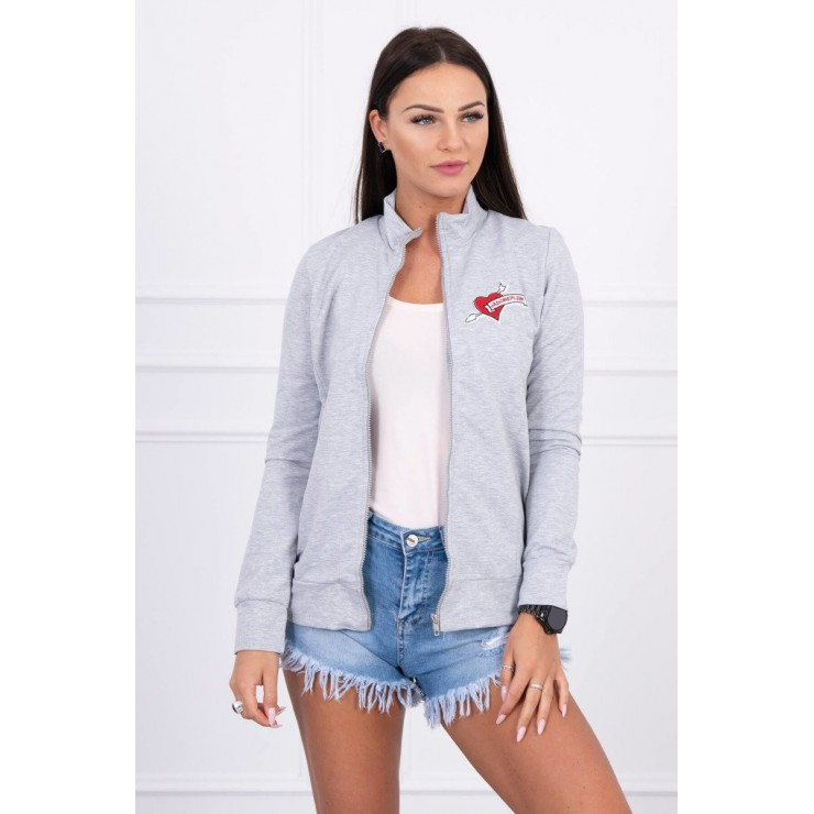Sweatshirt with heart  MI8587 gray