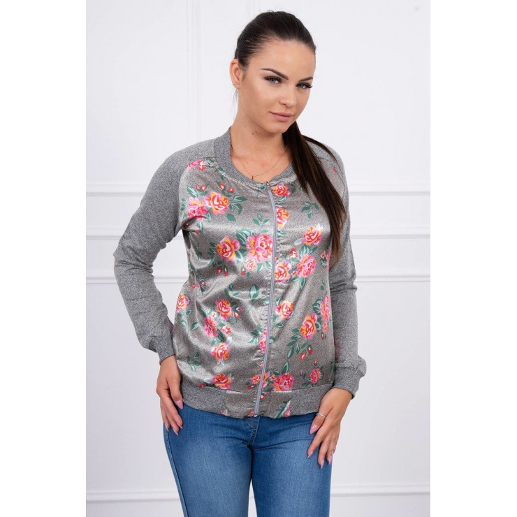 Sweatshirt with flowers MI8578 pink