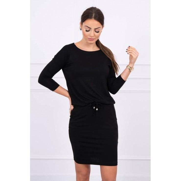 Dámske šaty viazané v páse MI9013 čierne