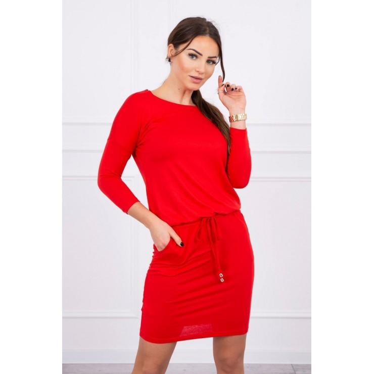 Dámske šaty viazané v páse MI9013 červené