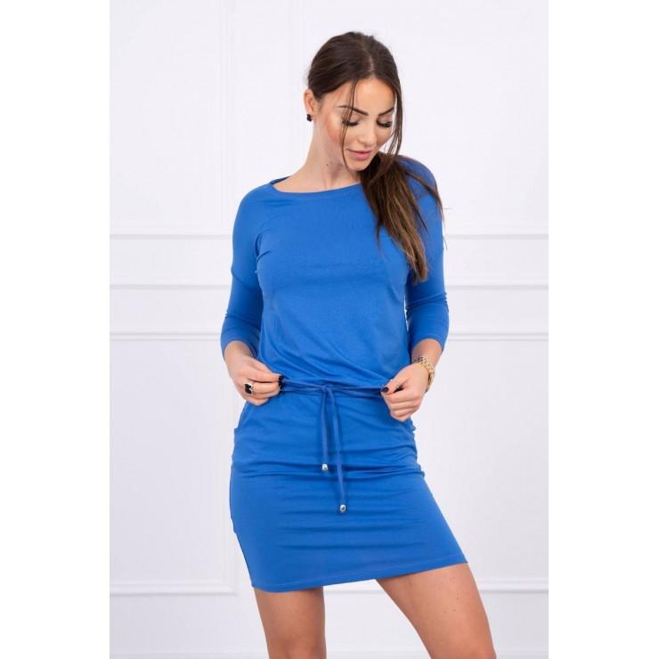 Dámske šaty viazané v páse MI9013 modré