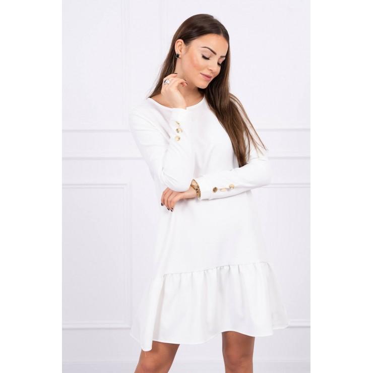 Dámske šaty s volánom MI66188 krémové
