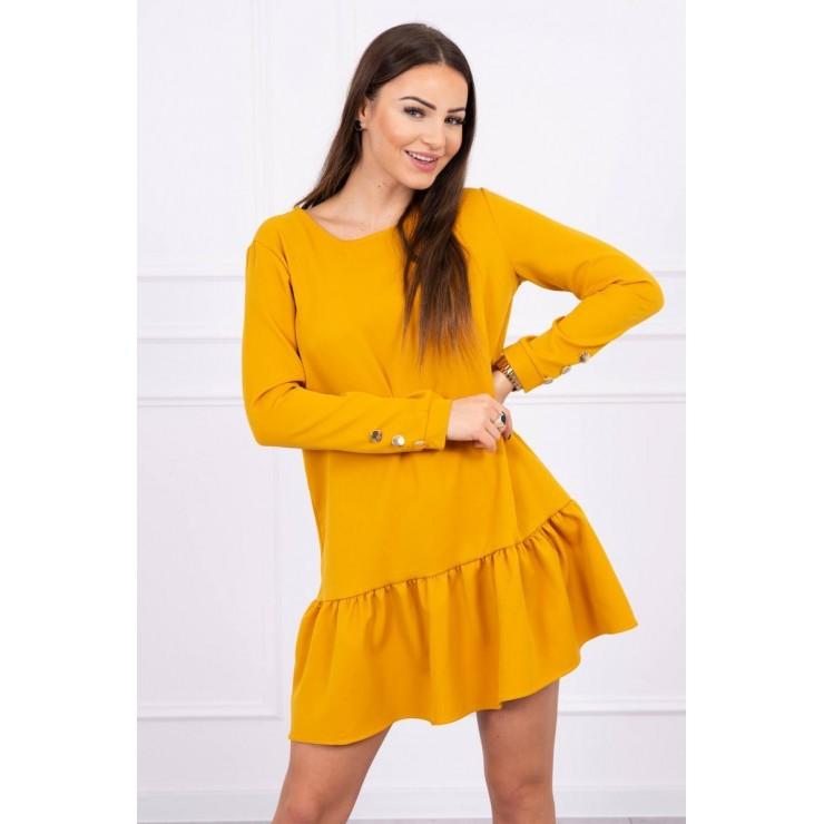 Dámské šaty s volánem MI66188 okrové