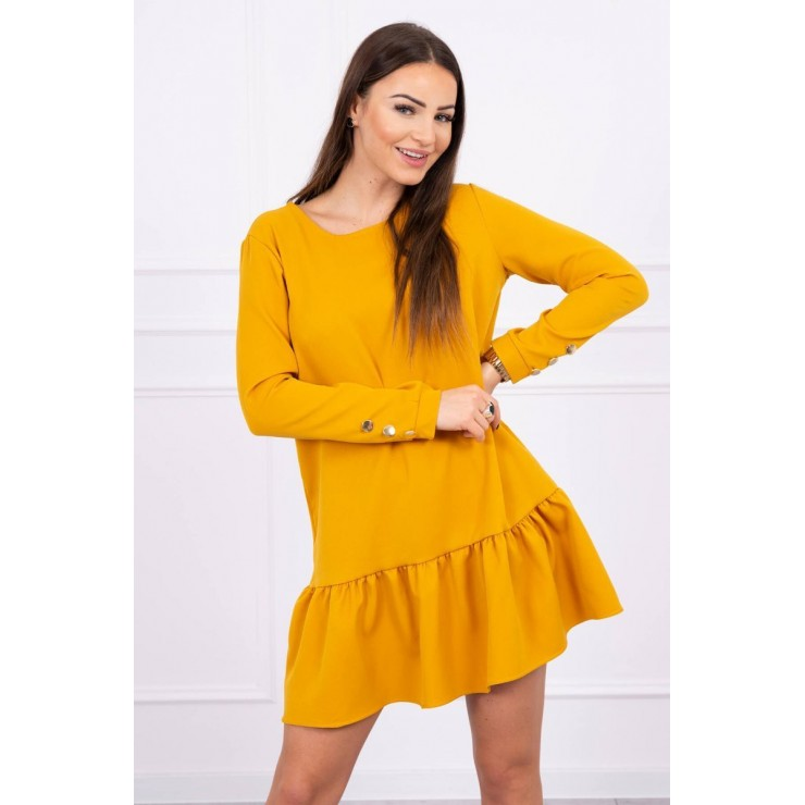 Dress with a flounce MI66188 mustard