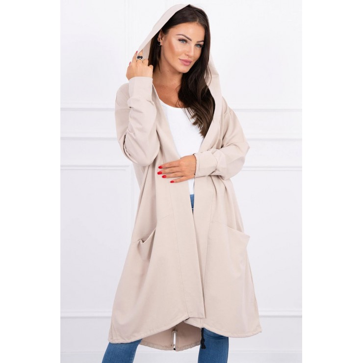 Cardigan da donna con cappuccio oversize MI0044 beige