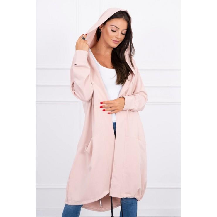 Cardigan da donna con cappuccio oversize MI0044 rosa cipria