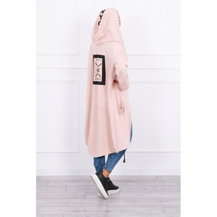 Cape with a hood oversize MI004 powder pink