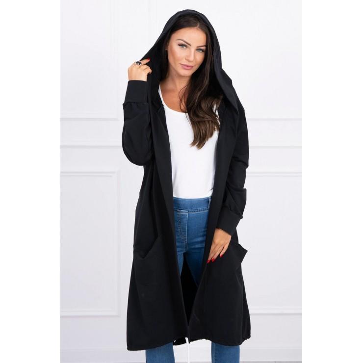 Cardigan da donna con cappuccio oversize MI0044 nero