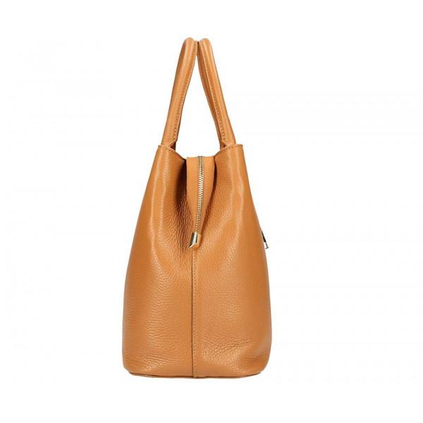 Béžová kožená kabelka 1137 Béžová