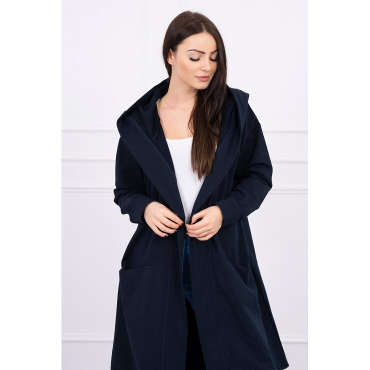Cape with a hood oversize MI004 dark blue
