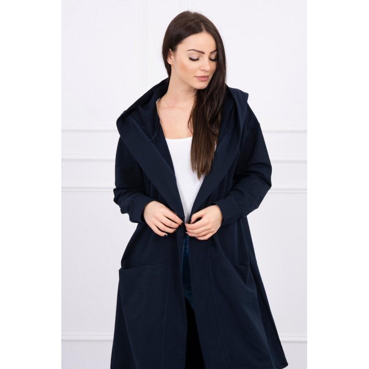 Cardigan da donna con cappuccio oversize MI0044 blu navy