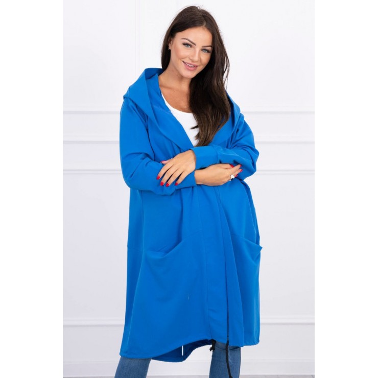 Cape with a hood oversize MI004 blue