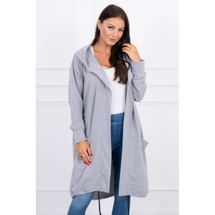 Cape with a hood oversize MI004 gray