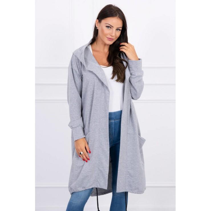Cardigan da donna con cappuccio oversize MI0044 grigio