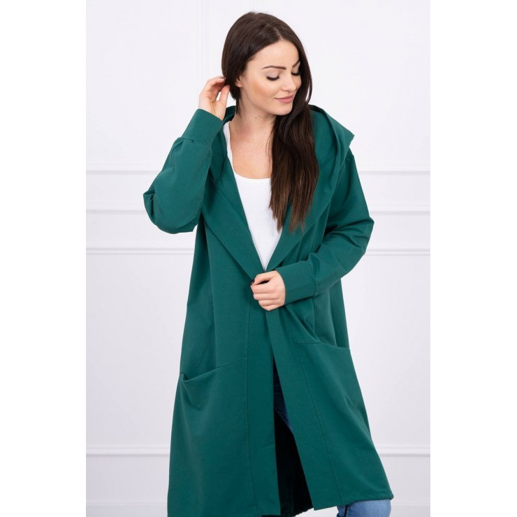 Cape with a hood oversize MI004 green