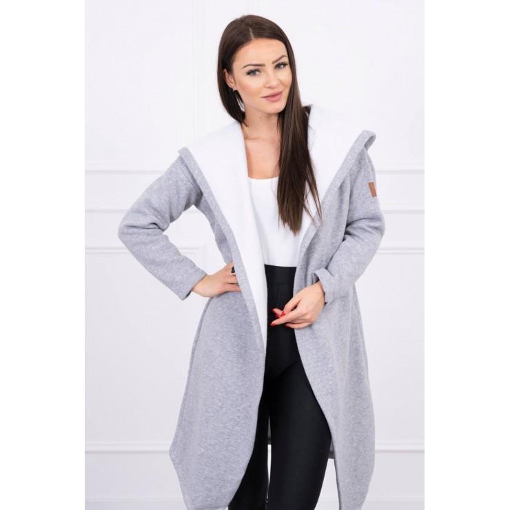 Cardigan lungo con cappuccio MI0138 grigio