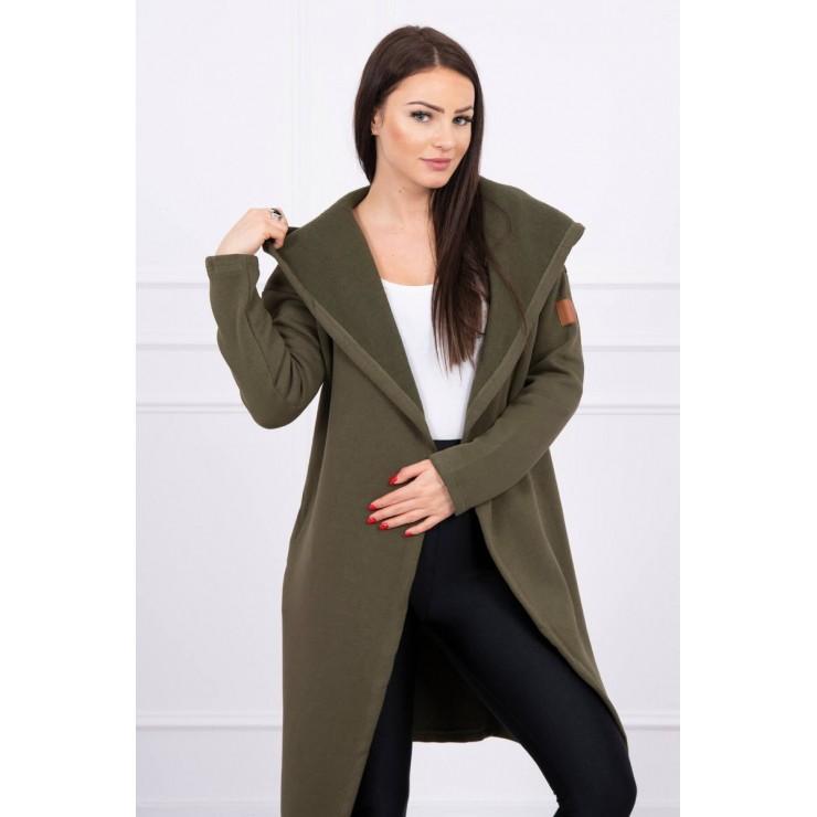 Long cardigan with hood MI0138 khaki
