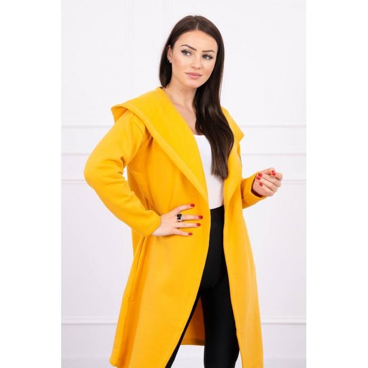 Long cardigan with hood MI0138 mustard