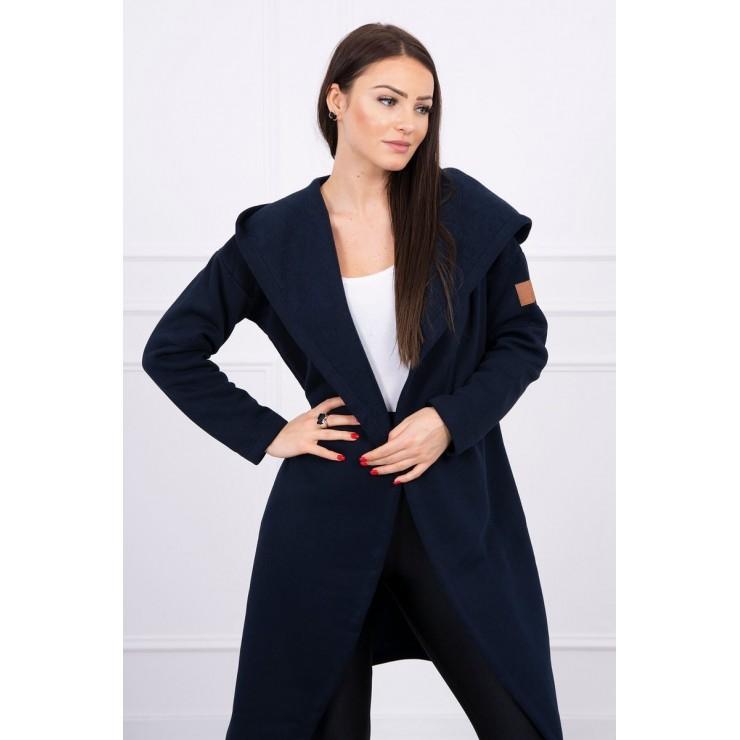 Cardigan lungo con cappuccio MI0138 blu navy
