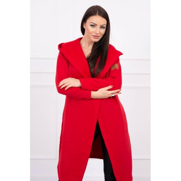 Cardigan lungo con cappuccio MI0138 rosso
