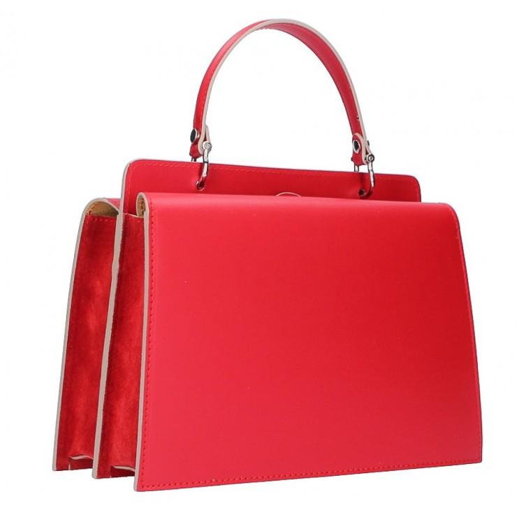 Genuine Leather Handbag  5337 red