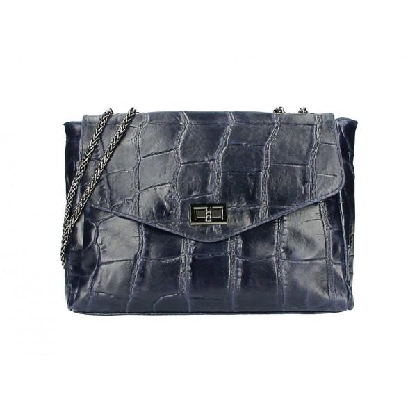 Kožená kabelka na rameno MI15 tmavomodrá Made in Italy Modrá
