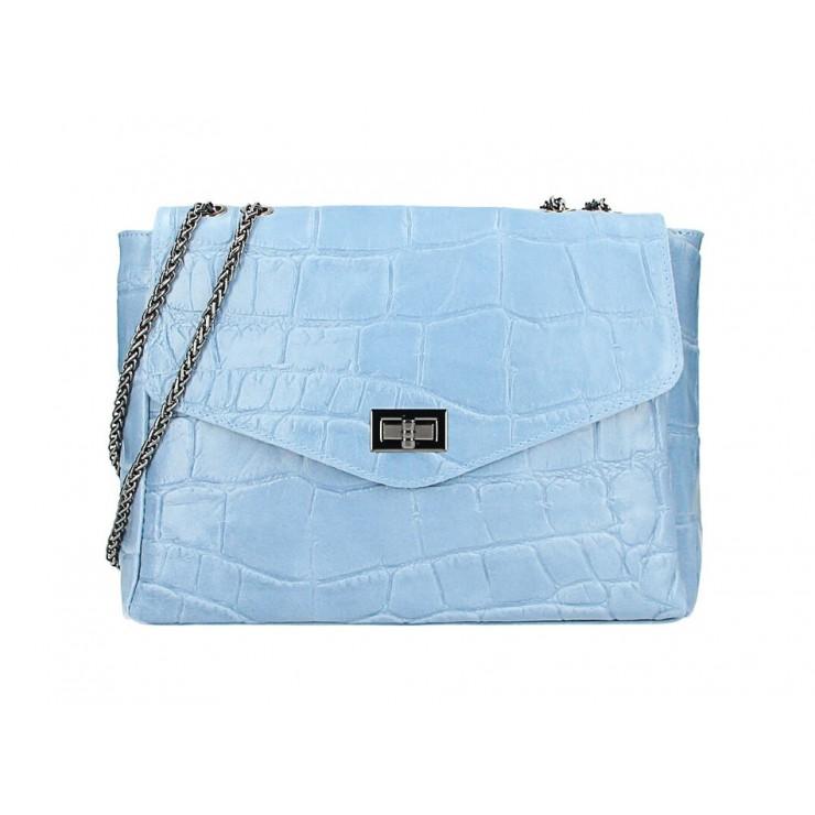 Kožená kabelka na rameno MI15 nebesky modrá Made in Italy