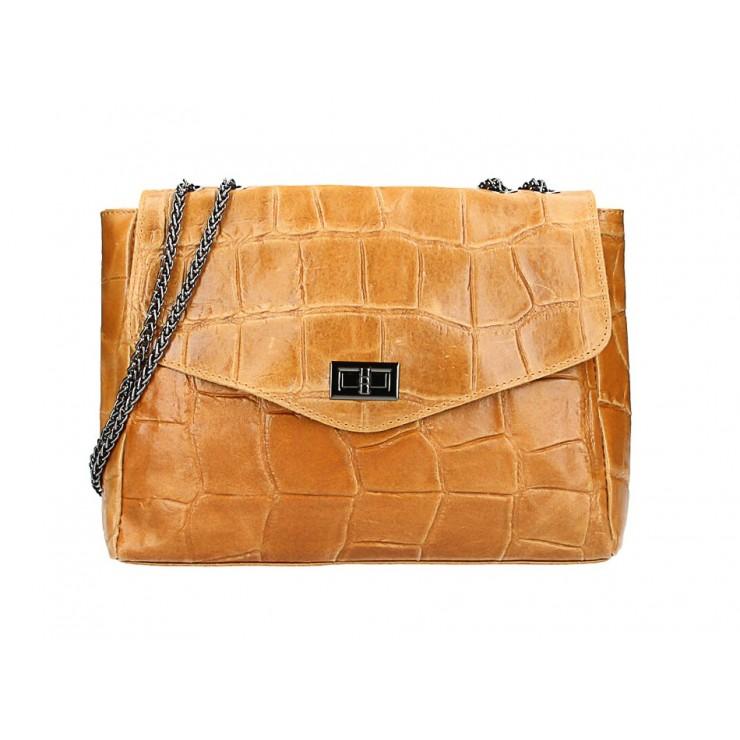 Kožená kabelka na rameno MI15 koňaková Made in Italy