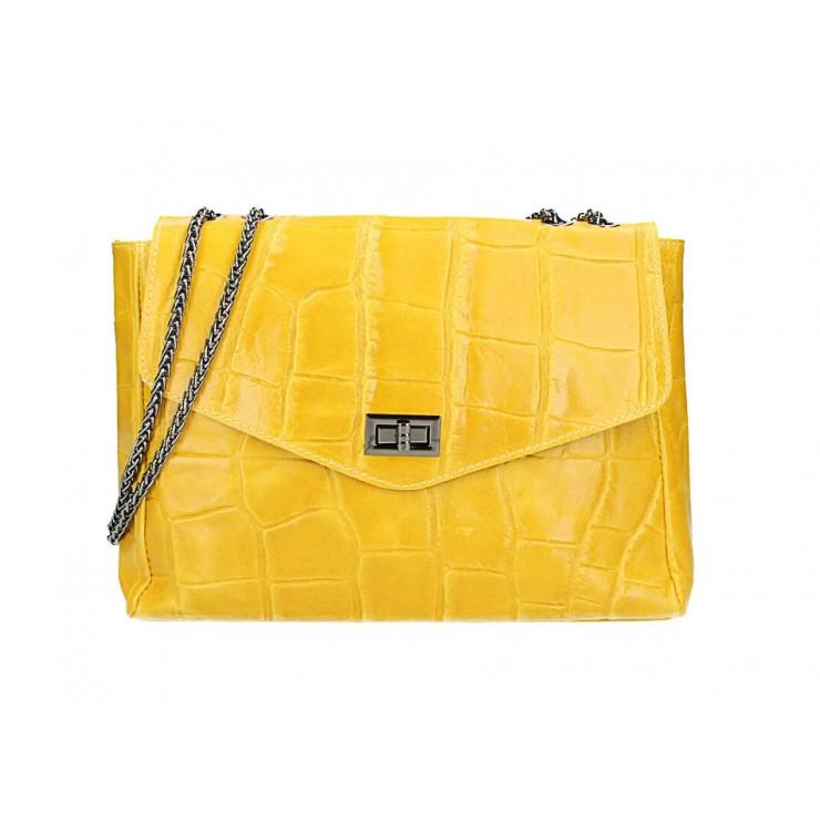 Kožená kabelka na rameno MI15 žltá Made in Italy