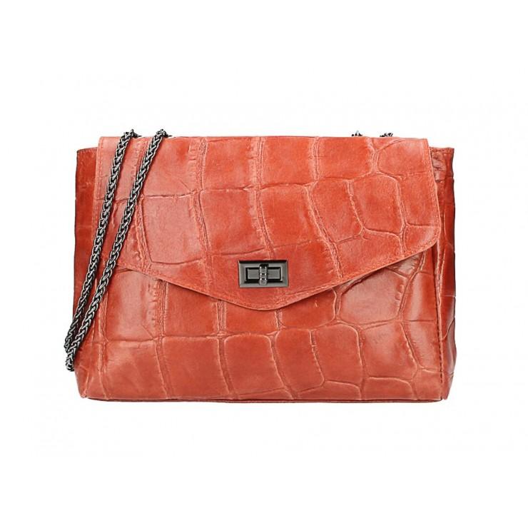 Genuine Leather Handbag MI15 brick Made in Italy