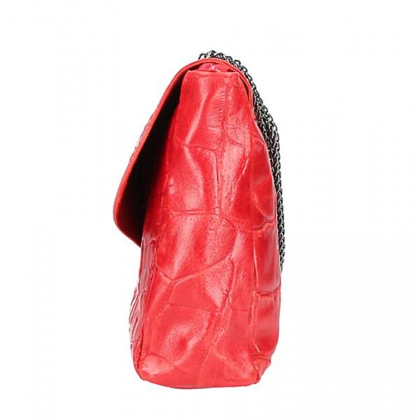 Kožená kabelka na rameno MI15 tehlová Made in Italy Tehlová