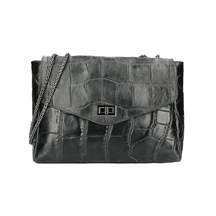 Kožená kabelka na rameno MI15 černá Made in Italy